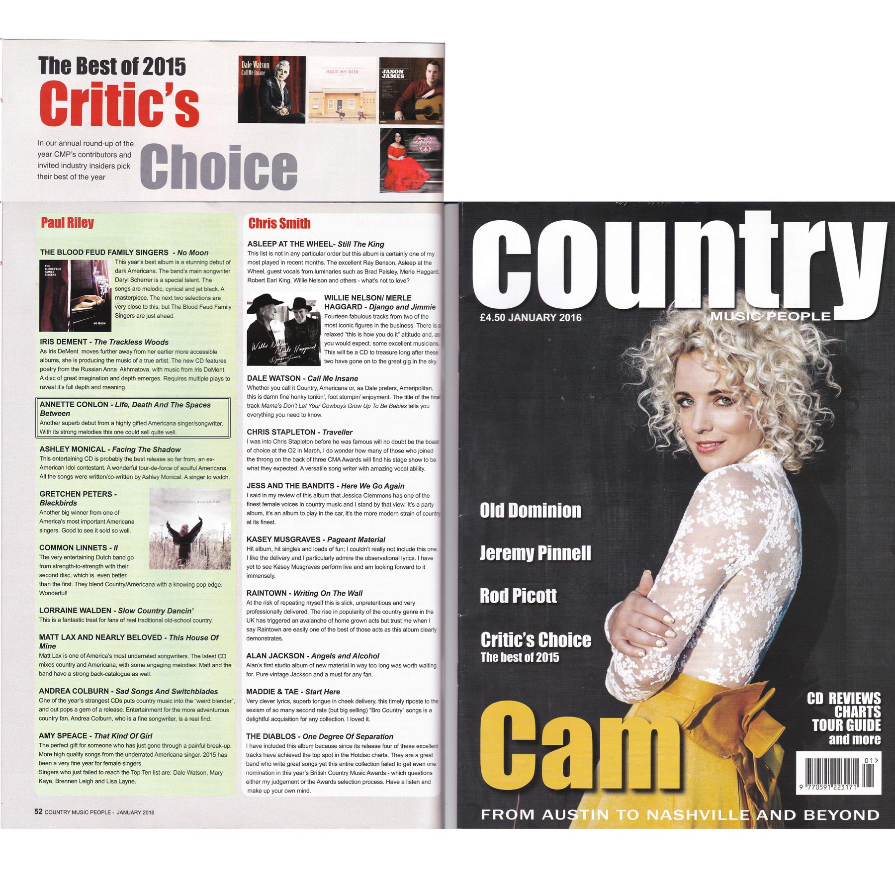 "Critic's Choice ""Top Ten Best Album of 2015"" in Country"